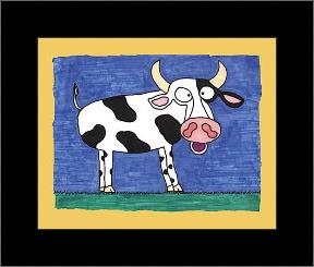 Cow art print poster with simple frame