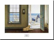 Looking Over Sea art print poster with block mounting