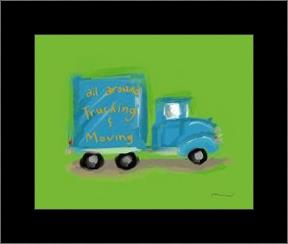 All Around Trucking Moving art print poster with simple frame