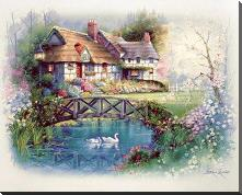 Coutnry Cottages art print poster with block mounting
