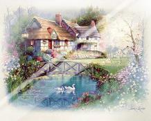 Coutnry Cottages art print poster with laminate