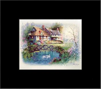 Coutnry Cottages art print poster with simple frame
