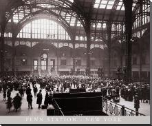Penn Station-New York art print poster with block mounting