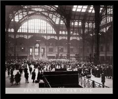 Penn Station-New York art print poster with simple frame