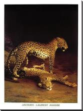 Two Leopards Playing In The Exeter Chang art print poster with block mounting