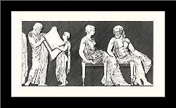 Greek Friezes Bw art print poster with simple frame