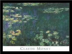Waterlilies: Green Reflections I art print poster with simple frame