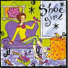 Shoe Girl art print poster with block mounting