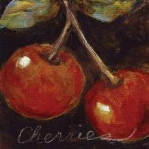 Ripe Cherries art print poster transferred to canvas