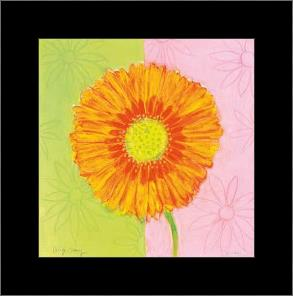 Orange Daisy art print poster with simple frame