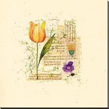 Flower Notes With Orange Tulip art print poster with block mounting