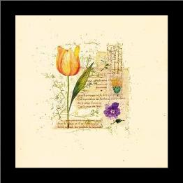 Flower Notes With Orange Tulip art print poster with simple frame