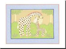 Giraffes art print poster with block mounting