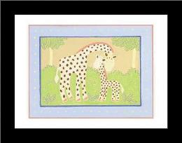 Giraffes art print poster with simple frame