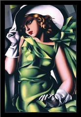 Jeune Fille Vert art print poster with simple frame