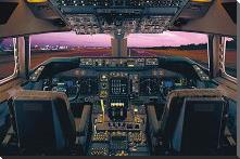Airplane - Boeing 747-400 Flight Deck art print poster with block mounting
