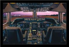 Airplane - Boeing 747-400 Flight Deck art print poster with simple frame