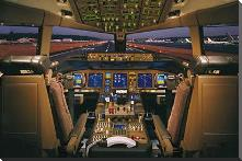 Airplane - Boeing 777-200 Flight Deck art print poster with block mounting