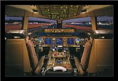 Airplane - Boeing 777-200 Flight Deck art print poster with simple frame