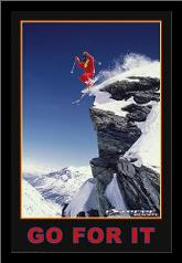 Go for it (Extreme Sport) art print poster with simple frame