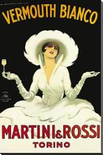 Martini Rossi art print poster with block mounting