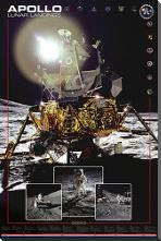 Apollo II Lunar Landings art print poster with block mounting