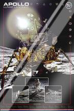 Apollo II Lunar Landings art print poster with laminate