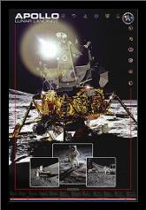 Apollo II Lunar Landings art print poster with simple frame