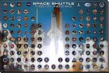 Space Shuttle - Mission Insignias art print poster with block mounting