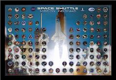 Space Shuttle - Mission Insignias art print poster with simple frame
