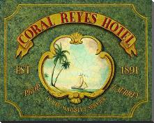 Coral Reyes Hotel art print poster with block mounting