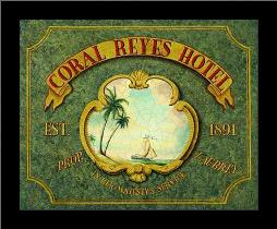 Coral Reyes Hotel art print poster with simple frame