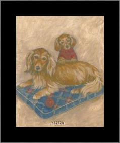 Dachsunds art print poster with simple frame