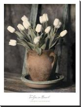 Tulips On Bench art print poster with block mounting