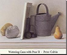 Watering Cans with Pear I art print poster with block mounting