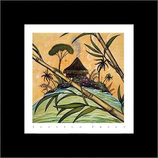 South Seas Hut II art print poster with simple frame
