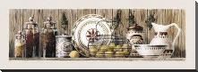 Assorted Jars And Plates art print poster with block mounting