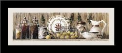 Assorted Jars And Plates art print poster with simple frame