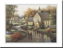 Country Church art print poster with block mounting