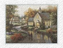 Country Church art print poster transferred to canvas