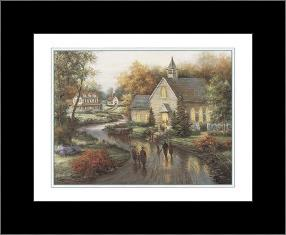 Country Church art print poster with simple frame