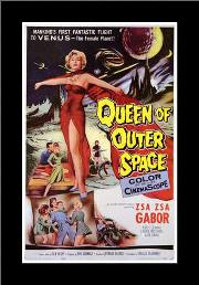 Queen of Outer Space art print poster with simple frame