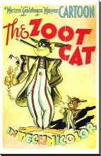 Zoot Cat, the art print poster with block mounting