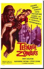 Teenage Zombies art print poster with block mounting