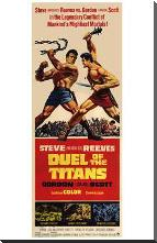 Duel of the Titans art print poster with block mounting