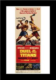 Duel of the Titans art print poster with simple frame