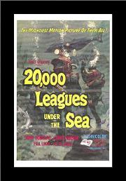 20,000 Leagues Under the Sea art print poster with simple frame