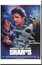 Night of the Sharks art print poster with block mounting