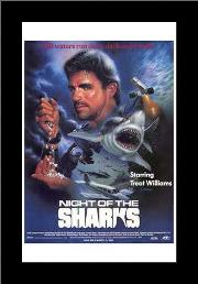 Night of the Sharks art print poster with simple frame