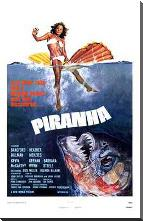 Piranha art print poster with block mounting